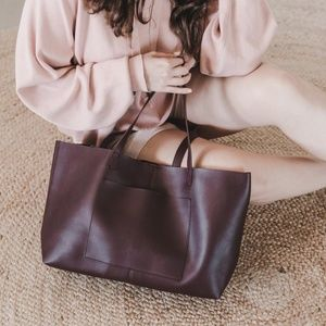 Rose & Summer Molly Tote Burgundy Purse Leather